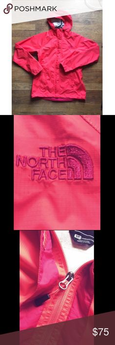 Pink North Face Windbreaker North Face Windbreaker is in excellent condition. Size is small but fits a medium as well. Velcro straps over zipper and plenty of pockets as well. Great for snow or cold weather. Jackets & Coats