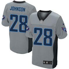 Men's Nike NFL Tennessee Titans #28 Chris Johnson Elite Grey Shadow Jersey $129.99