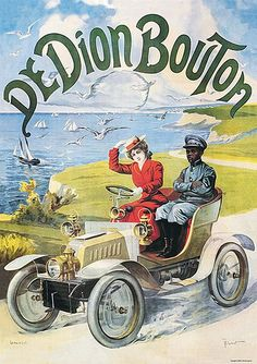 I'm guessing that this ad is saying the car is easy enough for the woman to drive and let the chauffeur sit back and relax (racist and misogynistic overtones galore, lol) De Dion Bouton, poster, c / 10314935 © Science and Society) Vintage Advertising Posters, Old Advertisements, Vintage Ads, Vintage Posters, Gravure Illustration, Car Illustration, Illustrations, Car Posters, Poster Ads