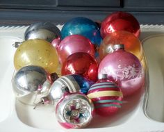 Vintage Glass Ornaments, Christmas, Holiday, Round, Balls, Assorted, Solid, Striped, Clear, Blue, Red, Pink, Blue, Yellow