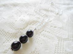 Onyx silver chain necklace Gemstone pendant necklace