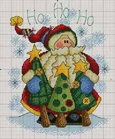 Santa & Trees Cross Stitch - Not a pattern; I just like the look of it...