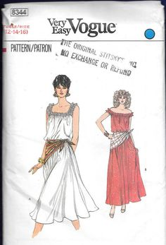 Very Easy Vogue 8344 Womens Ruffled Shoulder Blouson Dress & Scarf Vintage Sewing Pattern Size 6 8 10 UNCUT Factory Folded Vogue Sewing Patterns, Vintage Sewing Patterns, Vintage Vogue, Vintage 70s, 1970s Dresses, Scarf Dress, Dress Patterns, Pattern Dress, Vintage Outfits
