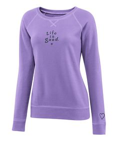 Take a look at this Soft Purple 'Life is Good' Softwash Crewneck Sweatshirt - Women by Life is good® on #zulily today!
