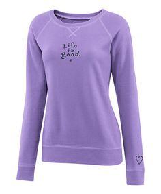 Soft Purple 'Life is Good' Softwash Crewneck Sweatshirt - Women by Life is good® on #zulily