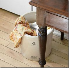 Crock in the kitchen for dirty towels I do this with a basket!  Love great ideas!