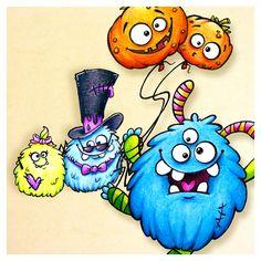 """handdrawed """"spider in love"""" & monster with pumpkin balloons #halloween #freebie #digistamp #monster #illustration #pumpkin #balloon #erfolgreichillustrator"""