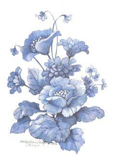 Blue Bouquet II 10 x 8 lithograph | CShoresInc - Print on ArtFire