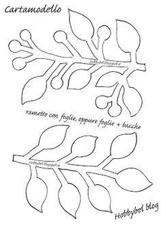 HOBBYBEL creatività: CARTAMODELLO rametto con FOGLIE per tagliare FELTRO e PANNOLENCI