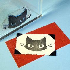 Rubber Stamp Cat Big Eyes Long Tail Cute Kitty Scrapbooking Cardmaking Paper Crafting Unmounted Animal Pet Stamps