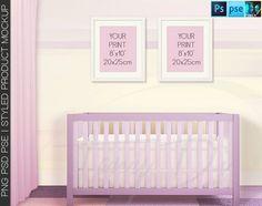 Nursery Interior #4 Set of 8x10 White Wood Portrait & Landscape Frames, Nursery Baby Crib 4 Print Display Mockups, PNG PSD PSE Custom colors
