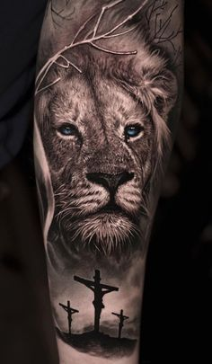 50 Eye-Catching Lion Tattoos That'll Make You Want To Get Inked - KickAss Things Lion Forearm Tattoos, Lion Head Tattoos, Mens Lion Tattoo, God Tattoos, Jesus Tattoo, Funny Tattoos, Body Art Tattoos, Tattoos For Guys, Lion Arm Tattoo