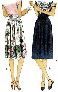 misses skirt vintage sewing pattern skirt rock юбка мо Moda Vintage, Vintage Skirt, Vintage Dresses, Vintage Outfits, 1940s Fashion, Vintage Fashion, Vintage Style, Women's Fashion, Couture