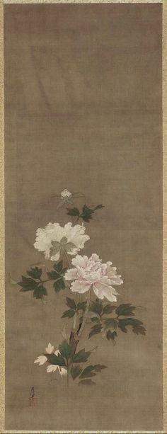 Peonies 牡丹図 Japanese, Edo Period, first half of the 18th century Kanô Chikanobu, Japanese, 1660–1728