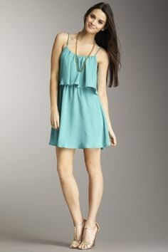 Ruffle Front Spaghetti Strap Dress