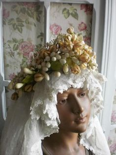 Antique veil with wax blossom crown.