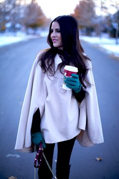Such a cute winter look! The cape and gloves are perfet. #Pink Peonies