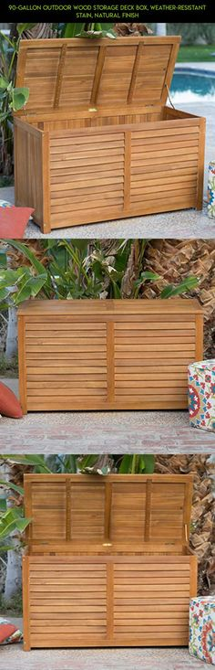 90-Gallon Outdoor Wood Storage Deck Box, Weather-Resistant Stain, Natural Finish #storage #gadgets #shopping #racing #drone #gallon #products #parts #90 #kit #tech #camera #technology #fpv #plans