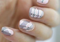 holographic nails, tape nail art, pink and grey nails