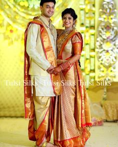 Wedding Reception South Indian Bride And Groom Dress Color Combination Wedding Dress Men, Saree Wedding, Wedding Party Dresses, Wedding Attire, Wedding Suits, Wedding Men, Wedding Shoot, Trendy Wedding, Groom Outfit
