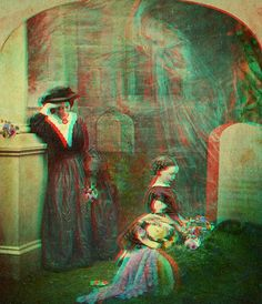 "Whip out your old school blue & red 3-D glasses for this one kids! ~ ""The Mother's Grave ""ghost"" view 1850's anaglyph3D"""