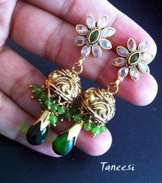 Gold plated JHUMKA EARRINGS Green Jhumkas Dome by taneesijewelry, $59.99