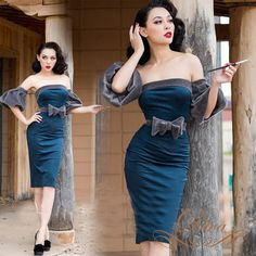 le palais vintage summer women blue strapless wiggle pencil dress with gray  puff sleeve elegant vestido plus size pinup dresses 3f54221a3ef5