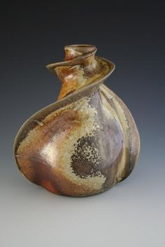 Malcolm Greenwood, Twisty Vase, coil built. Anagama wood-fired.