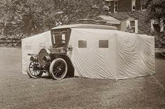 """onceuponatown: """" The amazing DuPont camp auto. It turns into a tent! This Stoddard-Dayton camping car was built for engineer and politician Thomas Coleman du Pont Du Pont used. Mini Camper, Truck Camper, Camper Van, Camper Life, Auto Camping, Camping 101, Camping Ideas, Tent Camping, Camping Humor"""