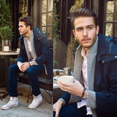 This look from 'I Am Galla' is perfect for transitioning from winter into spring.     #MensFashion #urban #streetstyle