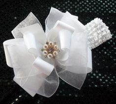 White Boutique Hair Bow  Headband Included - Baby, Toddler, Girls and Women