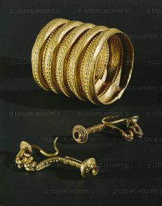 HALLSTATT CULTURE JEWELRY 6TH BCE Gold bracelets and clasps from the tomb of a prince near Ludwigsburg, Germany Wuerttembergisches Landesmuseum, Stuttgart, Germany