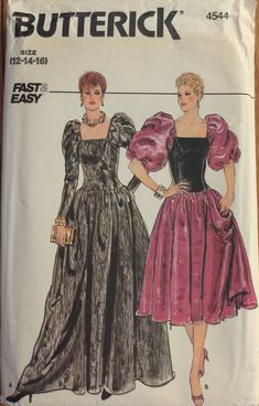 VTG 4544 Butterick (1980s). Fast & Easy. Misses' dress. Size 12-14-16, Bust 34-36-38. Complete, unused, FF. Excellent condition.