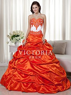 Orange Ball Gowns Floor Length Satin Pick-Up Sweetheart Prom Dress - US$ 240.99 - Style P0393 - Victoria Prom