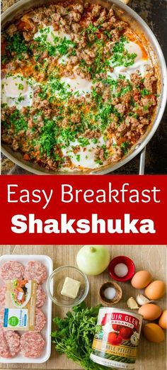 This contains: Shakshuka is a one-skillet meal that is perfect for breakfast or dinner. It's a protein-packed, hearty and satisfying meal that's perfect for company or a memorable weekend breakfast. We love serving it with toasted bread. Entree Recipes, Grilling Recipes, Meat Recipes, Easy Dinner Recipes, Easy Meals, Healthy Recipes, Breakfast For A Crowd, Sausage Breakfast, Breakfast Recipes