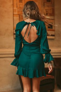 Hidden Figures Frill Tie Up Dress Forest Green Mode Outfits, Trendy Outfits, Dress Outfits, Casual Dresses, Short Dresses, Fashion Dresses, Prom Dresses, Summer Dresses, Prom Dress Shopping