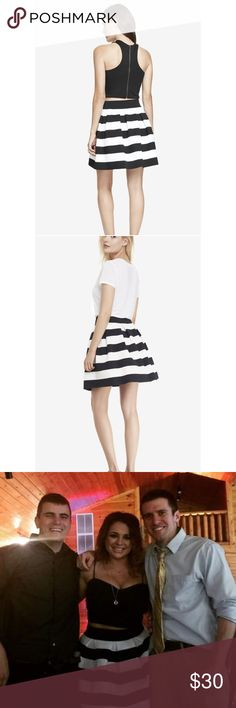 🛍EXPRESS Black & White High Waisted Elastic Skirt This skirt is perfect to dress up or dress down. The elastic makes for comfortable wear. I paired this skirt with a black tank made of the same elastic material (see third photo). That photo was the only time this skirt was worn! Express Skirts A-Line or Full