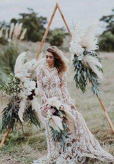 21 Boho Wedding Dresses to Blow Everyone Away | Kabuki Rune Sage Green Wedding, Lilac Wedding, Boho Wedding Dress, Wedding Bouquets, Wedding Gowns, Wedding Flowers, Wedding Wreaths, Wedding Decorations, Table Decorations