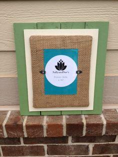 Green / Cream Mat Wood Frame by SallyandSues on Etsy, $38.00