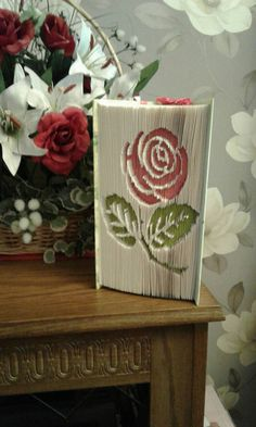 Pink Rose Folded Book Art Gift for Wife / by CreationsByMEx Special Birthday, 40th Birthday, Birthday Ideas, Folded Book Art, Book Folding, Book Sculpture, Old Book Pages, Reuse Recycle, Book Gifts