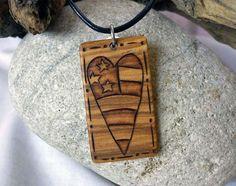 Primitive Americana Heart Necklace, Wood Pendant, Rustic American Flag Heart, Patriotic Necklace, Patriotic Jewelry
