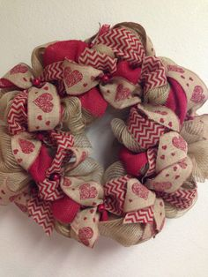 Burlap Valentines Day wreath at FairOakes Sisters. Facebook.com/FairOakesSisters