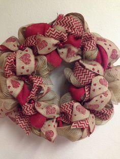 Burlap Valentines Day wreath at FairOakes Sisters. Facebook.com/FairOakesSisters