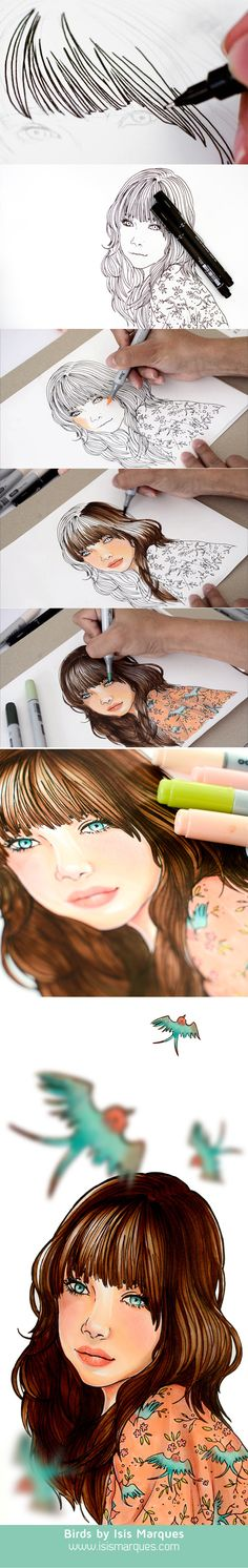 Ideas fashion ilustration sketches drawing tutorials copic markers for 2019 Cool Drawings, Drawing Sketches, Drawing Faces, Sketching, Drawing Tips, Marker Kunst, Illustration Manga, Inspiration Art, Art Graphique