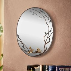 Features:  -Not removal birds.  -Leavescolor: Grey tones.  -Constructed from sheet metal wire and glass.  Shape: -Oval.  Style (Old): -Traditional.  Mirror Type: -Accent.  Orientation: -Vertical.  Fra