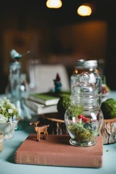 A Whimsical Enchanted Woodland Wedding. This is such an amazing look. I am stealing some ideas for my house. Enchanted Forest Wedding, Woodland Wedding, Autumn Wedding, Deer Wedding, Non Floral Centerpieces, Wedding Centerpieces, Wedding Decorations, Jewel Tone Decor, Wedding Prep
