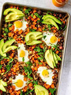 Sheet Pan Sweet Potato Hash with Baked Eggs & Romesco - - Delicious Breakfast Recipes, Savory Breakfast, Easy Healthy Breakfast, Brunch Recipes, Dinner Recipes, Healthy Eating, Breakfast Ideas, Egg Recipes, Gluten Free Recipes