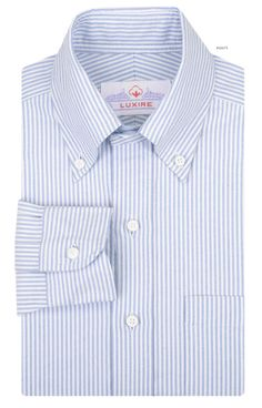 Luxire dress shirt constructed in Blue University Stripes Oxford: http://custom.luxire.com/products/blue-university-stripes-oxford  Consists of button down and single button cuffs.
