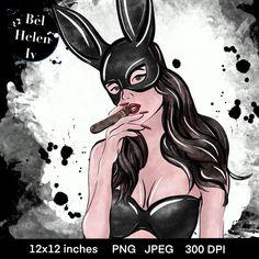 Print for women 's shirt Illustration Girl, Digital Illustration, Exotic Art, Playboy Bunny, Hare, Dark Art, Clipart, Anime, Sketches