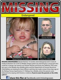 Persons of America: Molalla police searching for endangered girl - Found safe Missing Child, Missing Persons, State Of Oregon, Molalla Oregon, 1 Year Old Girl, 14 Month Old, Law Enforcement Jobs, Missing And Exploited Children, Amber Alert